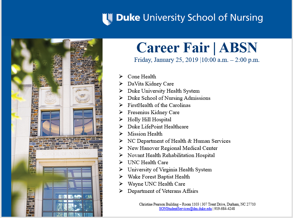 Save the Date: ABSN Career Fair | Duke University School of Nursing