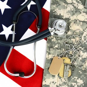 Military fatigue and stethoscope