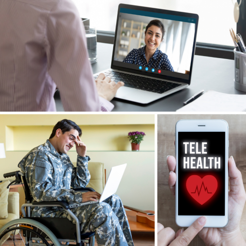 composite of male veteran talking on computer woman on computer telehealth graphic