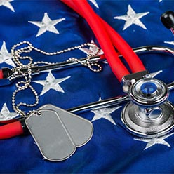 Flag with military dog tags